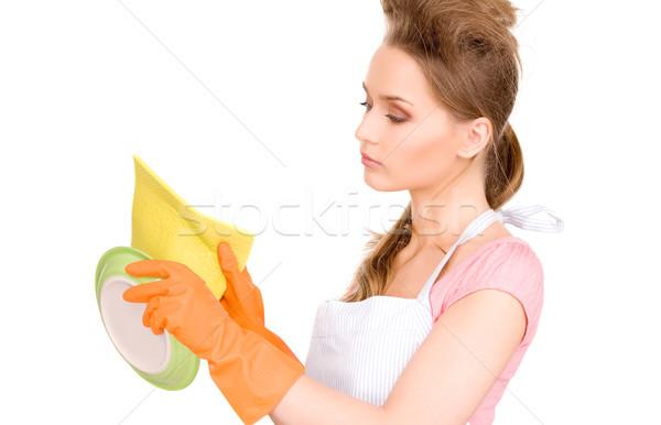 Stockfoto: Huisvrouw · wassen · schotel · foto · mooie · witte