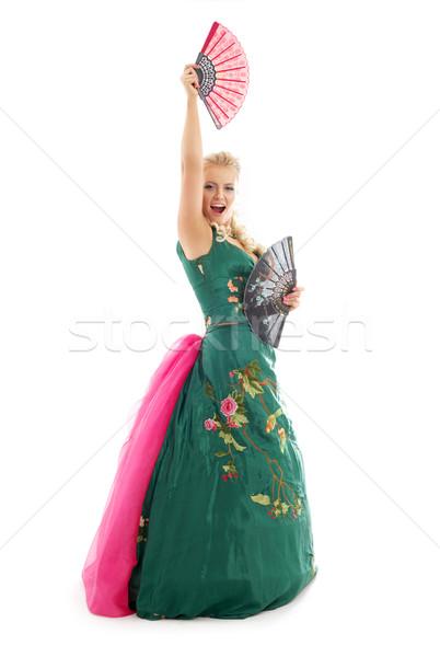 Taniec fanów pani zielone sukienka biały Zdjęcia stock © dolgachov
