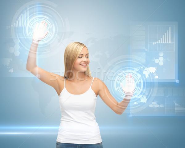 Kadın çalışma sanal ekran resim Stok fotoğraf © dolgachov