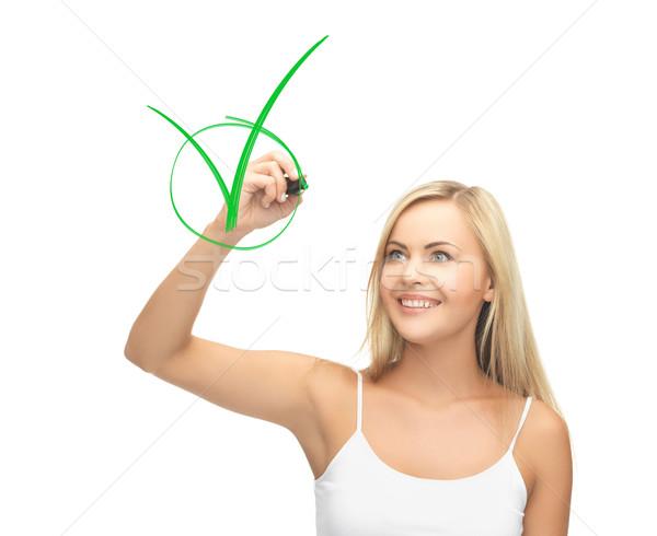 Mulher branco camisas desenho verde sorrindo Foto stock © dolgachov