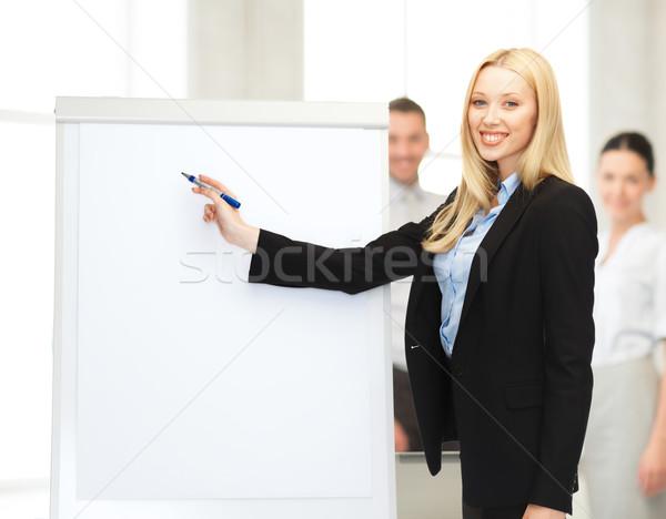 businesswoman with flipchart in office Stock photo © dolgachov