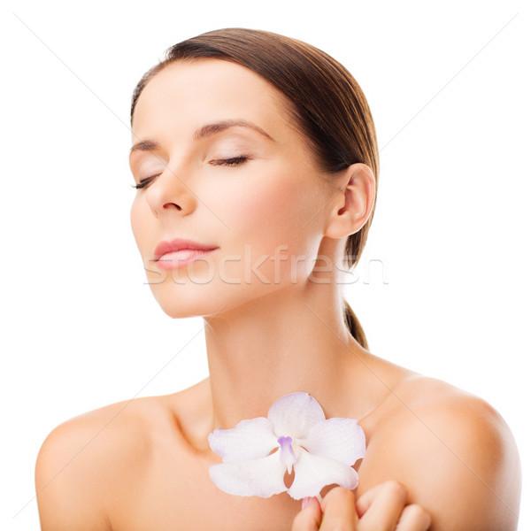 Mujer flor salud belleza feliz Foto stock © dolgachov