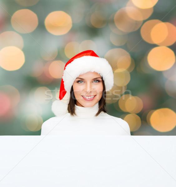 女性 サンタクロース ヘルパー 帽子 ホワイトボード クリスマス ストックフォト © dolgachov