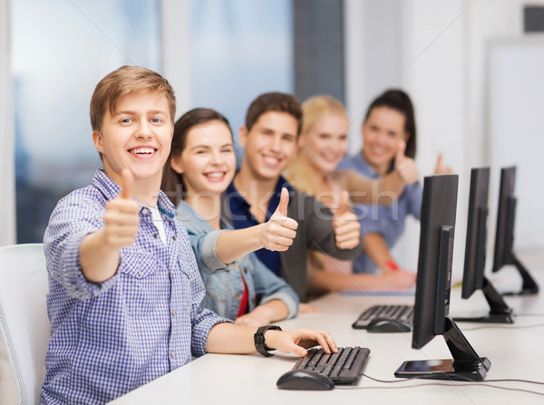 Estudantes monitor de computador educação internet Foto stock © dolgachov