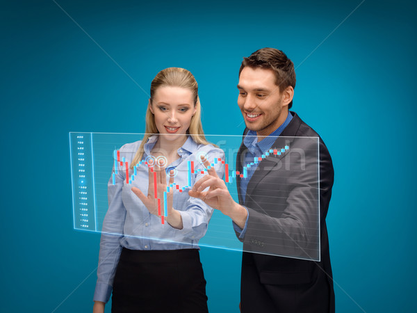 Vrouw man werken forex grafiek business Stockfoto © dolgachov