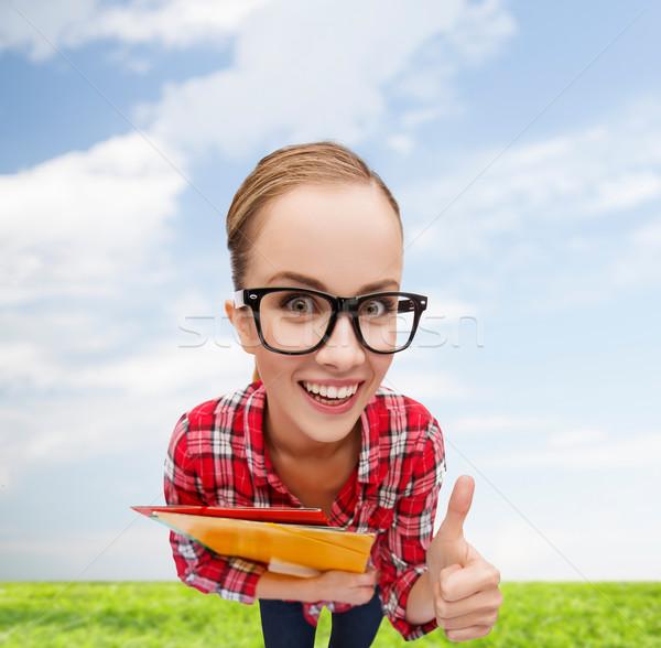 Diák szemüveg mappák mutat remek oktatás Stock fotó © dolgachov