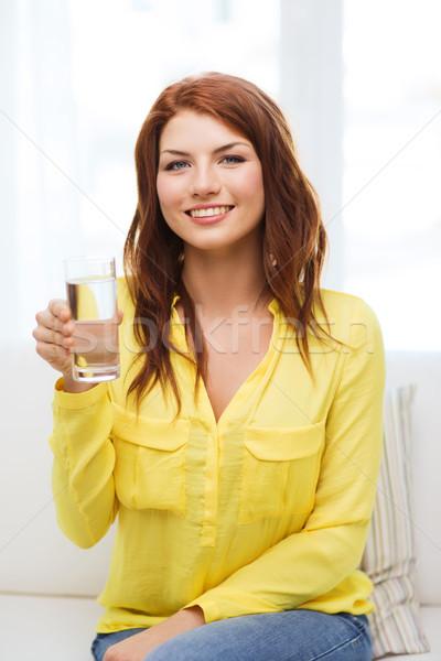 Сток-фото: улыбаясь · подростку · стекла · воды · домой · здравоохранения