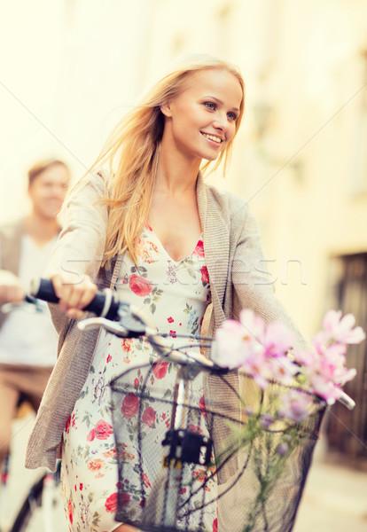 カップル 市 夏 休日 バイク ストックフォト © dolgachov