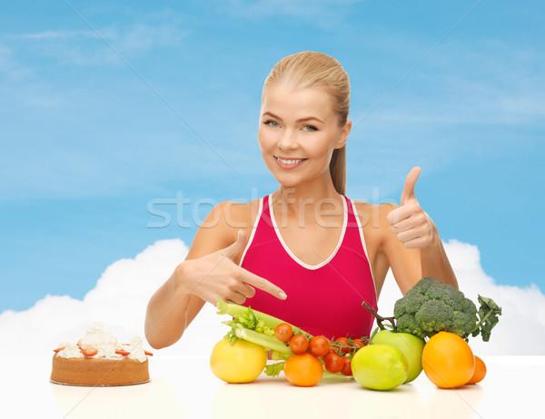 Mulher indicação alimentação saudável fitness saúde dieta Foto stock © dolgachov