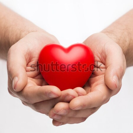 male hands with small red heart Stock photo © dolgachov