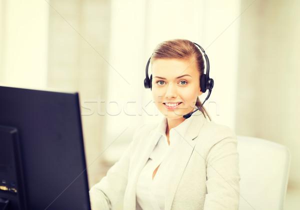 優しい 女性 ヘルプライン 演算子 画像 ヘッドホン ストックフォト © dolgachov