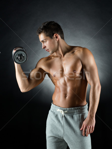 Stockfoto: Jonge · man · sport · bodybuilding · opleiding · mensen