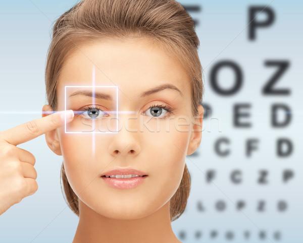Belo mulher jovem indicação dedo olho medicina Foto stock © dolgachov