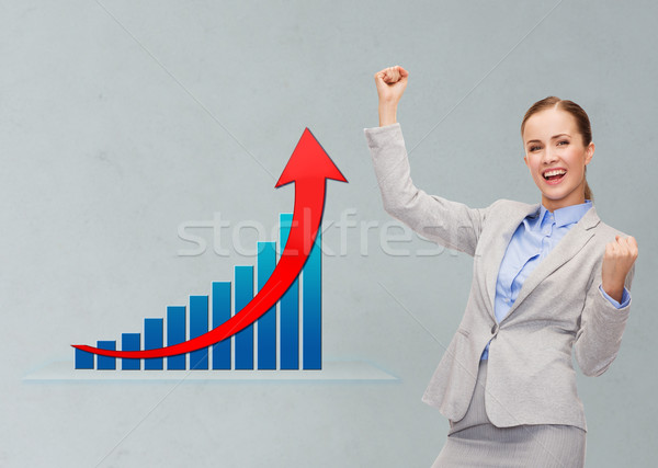 Gelukkig zakenvrouw handen omhoog business succes triomf Stockfoto © dolgachov