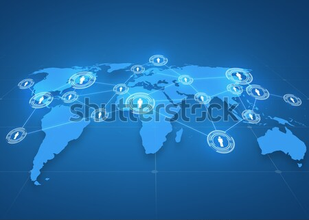 stock photo global business social network mass media and technology concept world map projection with people icons over blue background