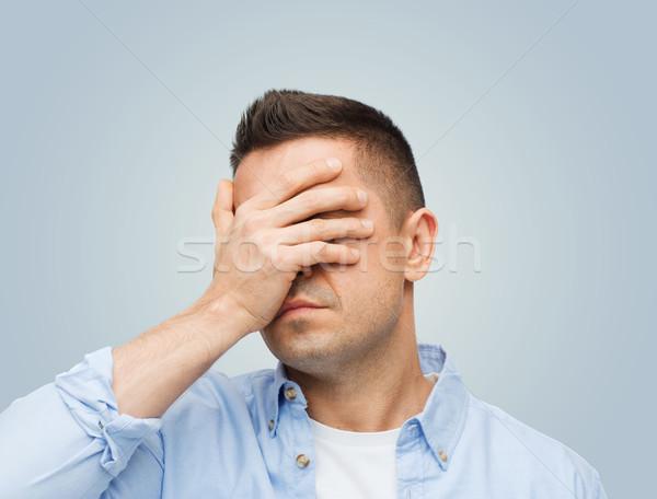 Unglücklich Mann Augen Hand Stress Kopfschmerzen Stock foto © dolgachov