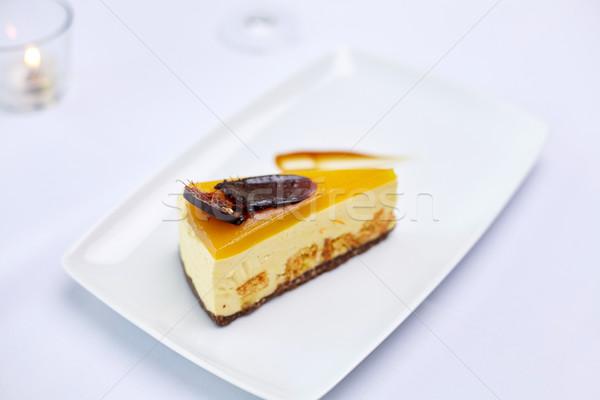 dessert or piece of cake at restaurant Stock photo © dolgachov