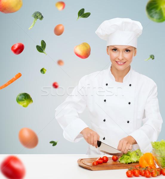 Stock fotó: Mosolyog · női · szakács · tapsolás · zöldségek · főzés
