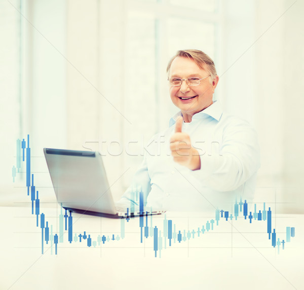 old man with laptop computer showing thumbs up Stock photo © dolgachov