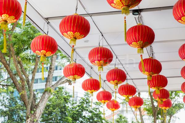 ceiling decorated with hanging chinese lanterns Stock photo © dolgachov