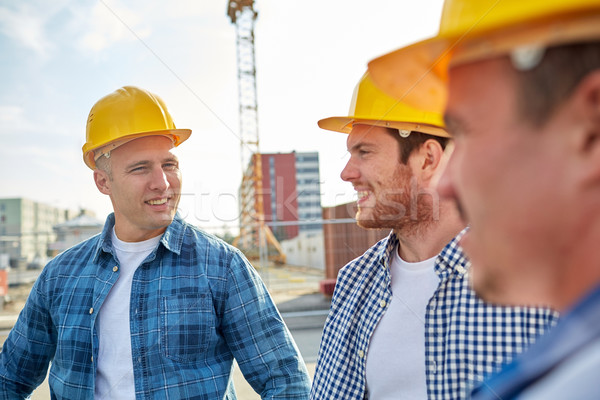 Stock fotó: Csoport · mosolyog · építők · kint · üzlet · épület