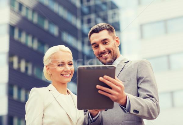 Сток-фото: улыбаясь · бизнесменов · улице · бизнеса