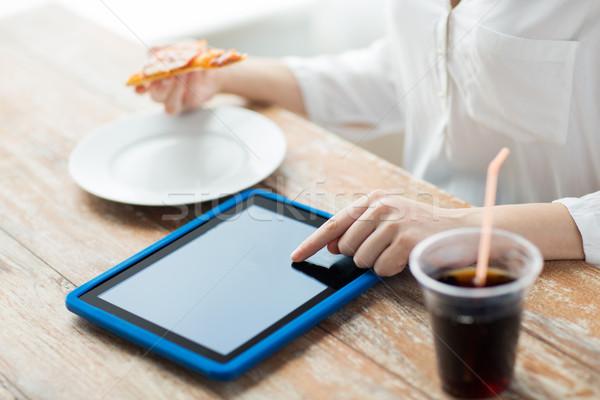Foto stock: Mulher · jantar · fast-food · pessoas