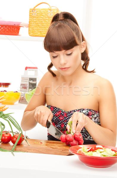 домохозяйка фотография красивая женщина кухне женщину девушки Сток-фото © dolgachov