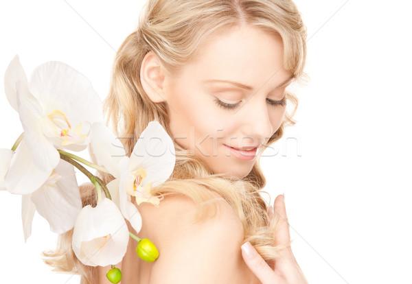 Foto stock: Mujer · hermosa · flor · blanca · Foto · mujer · nina · sexy