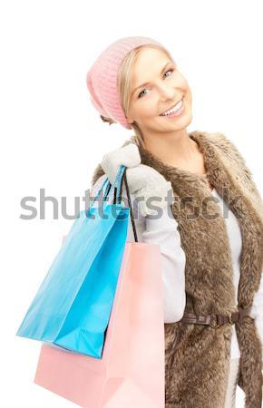 Stock fotó: Derűs · mikulás · segítő · bevásárlótáskák · kép · nő