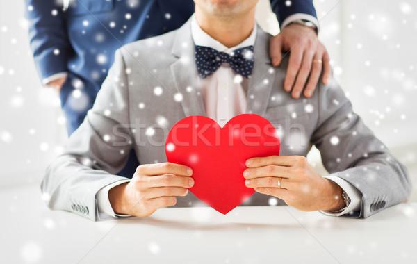 男性 ゲイ カップル 赤 中心 ストックフォト © dolgachov