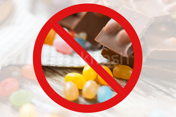 close up of candies and chocolate behind no symbol Stock photo © dolgachov