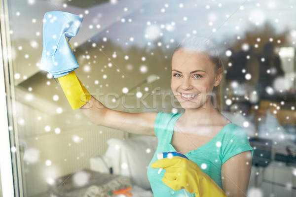Felice donna guanti pulizia finestra straccio Foto d'archivio © dolgachov