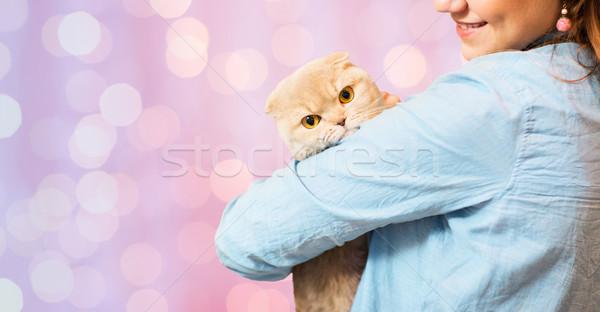 woman holding scottish fold cat over pink lights Stock photo © dolgachov