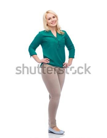 Gülen genç kadın gömlek pantolon kadın cinsiyet Stok fotoğraf © dolgachov
