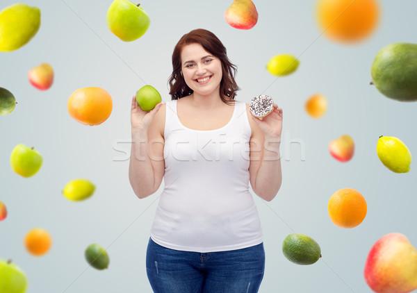 Boldog plus size nő választ alma süti Stock fotó © dolgachov