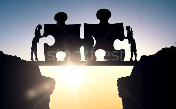 silhouette of two business women connecting puzzle Stock photo © dolgachov