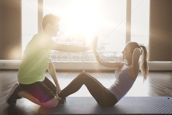 Stok fotoğraf: Kadın · personal · trainer · oturmak · spor · salonu · uygunluk · spor