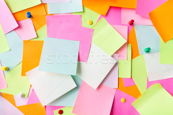 close up of colorful paper stickers Stock photo © dolgachov