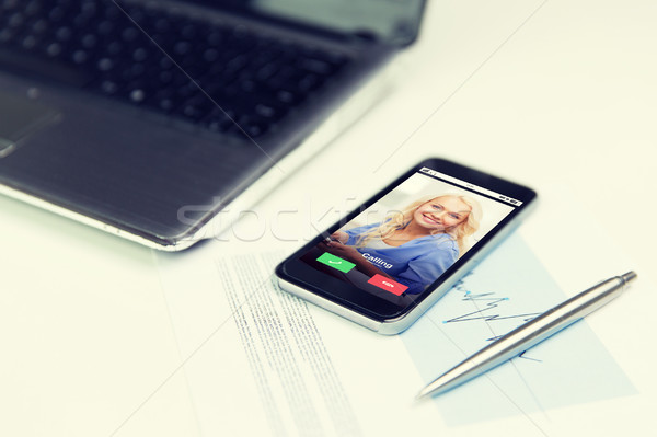 close up of smartphone incoming call on screen Stock photo © dolgachov