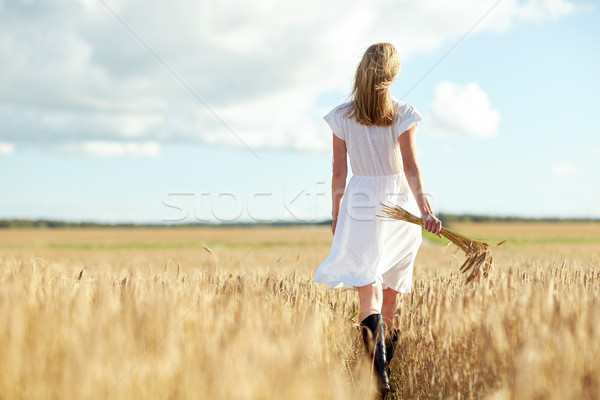 Jeune femme céréales marche domaine bonheur nature Photo stock © dolgachov