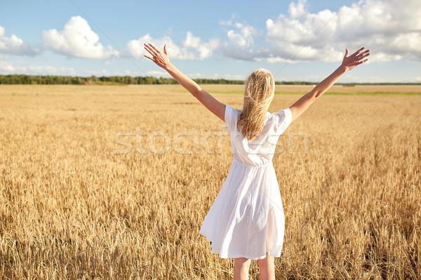 счастливым белое платье зерновых области стране Сток-фото © dolgachov