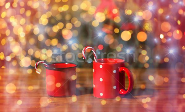 Christmas snoep houten tafel vakantie winter Stockfoto © dolgachov
