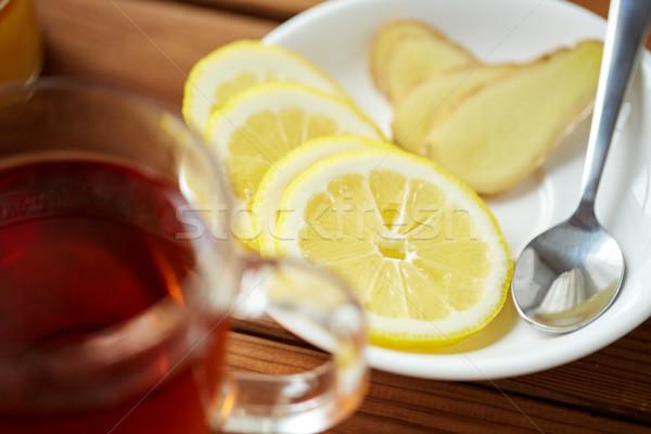 лимона имбирь пластина здоровья традиционный Сток-фото © dolgachov