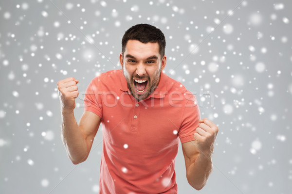 öfkeli genç kar duygu jest Stok fotoğraf © dolgachov