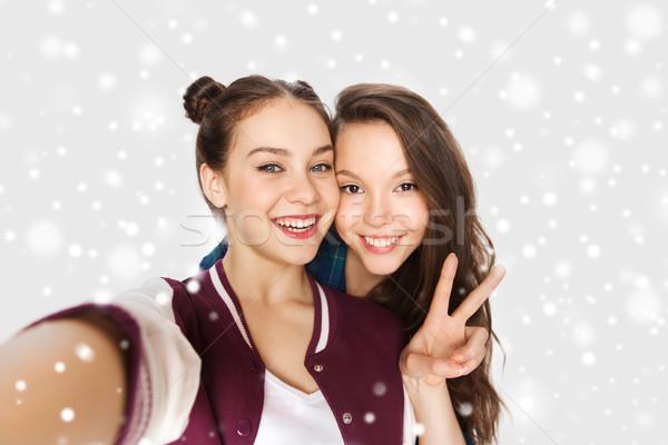 Mutlu arkadaşlar barış kış Stok fotoğraf © dolgachov