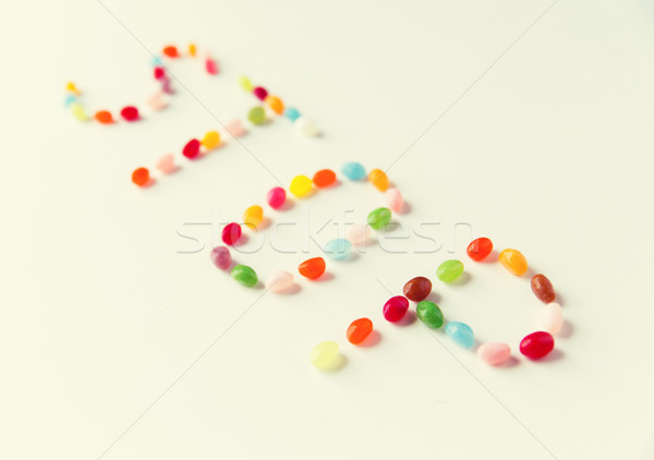 close up of jelly beans candies on table Stock photo © dolgachov