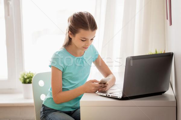Lány laptop okostelefon sms chat otthon emberek Stock fotó © dolgachov