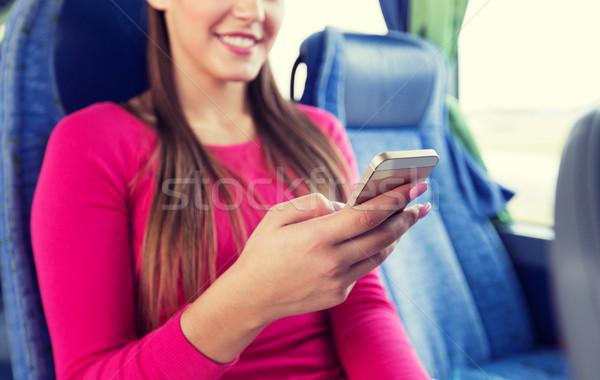 Kadın seyahat otobüs taşıma Stok fotoğraf © dolgachov