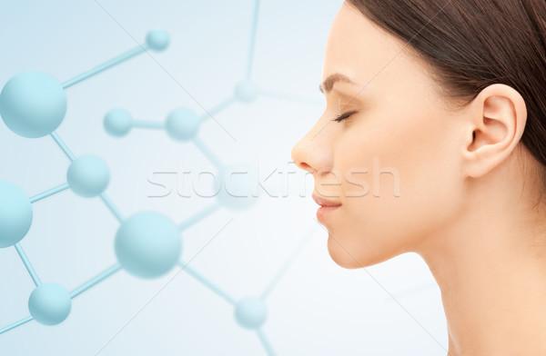 Profiel portret jonge vrouw schoonheid mensen gezondheid Stockfoto © dolgachov